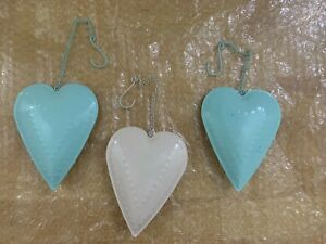 Metal Hanging Heart Decorations Mint and White