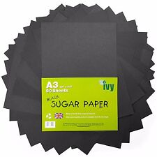 A3 Sugar Paper - 50 x Black Sheets - 21004 - Made in the UK by Ivy Stationery