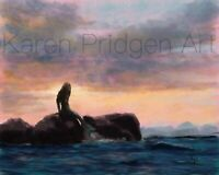 "ACEO ATC Art Print Signed ""Mermaid Sunset"" Fantasy Artist Trading Card"
