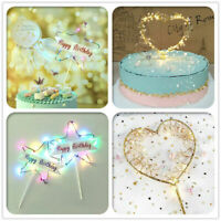 Creative LED Pearl Heart Star Cake Topper Happy Birthday Cake Baking Party Decor