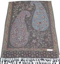 BLACK Jammu Design 2 strati DOUBLE FACE Scialle Pashmina Sciarpa Wrap CJ Apparel ** NUOVO **