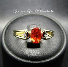 Dainty 9ct Gold Garnet and Diamond Ring Size J