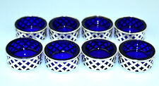 SET OF 8 VINTAGE STERLING SILVER SALT CELLARS W/ COBALT BLUE GLASS LINERS #716