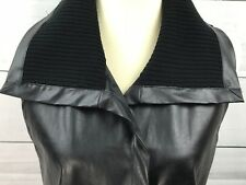 August Silk Black Faux Leather/Ribbed Knit Collar Vest Size Large  Retail $68