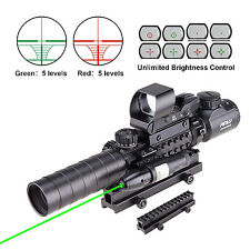 4-in-1 Gun Sight Reflex Dot Laser Scope Optics Rifle Shotgun Firearm Red Green