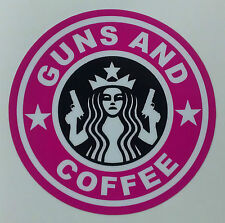 Pink Guns and Coffee decal sticker Girls CCW  2nd amedment