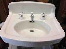 Vintage Earthenware Peg Leg Sink, Pedestal