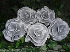 30 x schöne Krepprosen silber Silberhochzeit Jubiläum Deko Hochzeit Blumen