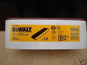 10 X DEWALT DT3303 75mm X 533MM BELT SANDER SANDING BELTS 80GRIT