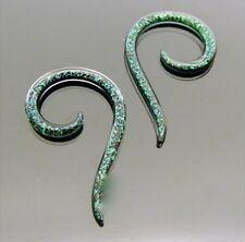 Green Plugs Body Jewelry Spirals Pair Pyrex Glass 2G Dichro