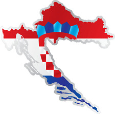"Croatia Country Flag Map Car Bumper Window Mirror Sticker Decal 4""X5"""