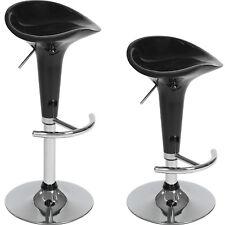 2 Tabourets de bar chaise fauteuil bistrot réglable pivotant siège PVC noir