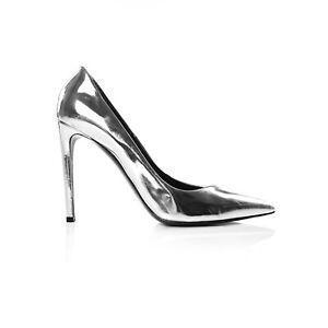 Balenciaga Silver Mirror Effect Pointed Pumps, Size 40