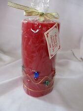 "Ganz dark red pillar candle with jewels & gold brocade trim NIP 6"" Christmas"