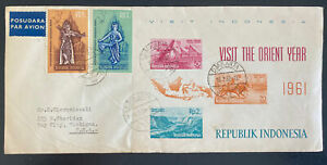 1962 Djakarta Indonesia First Day Cover FDC To Bay City MI Usa Orient Year