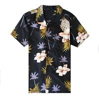 Men Hawaiian Shirt Luau Aloha Cruise Black Hibiscus Floral Pineapple Palm