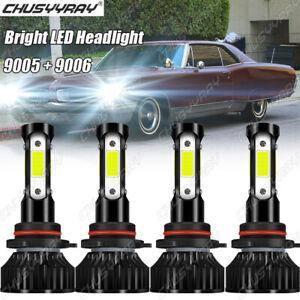 For Pontiac Grand Prix 2005-2008 4x 9005 9006 LED Headlight Bulbs High Low Beam