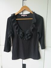 REVIEW Sz 10 3/4 Sleeve Scoop Neck Top with Ruffle Detail EC