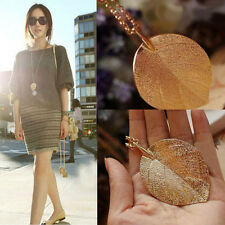 1x Cheap Costume Shiny Jewelry Gold Leaf Design Pendant Necklace Long Sweater JM