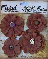 BURGUNDY RecycledPaper/Cotton Mix Flowers 4 per packet - 5 to 6cm across Petaloo