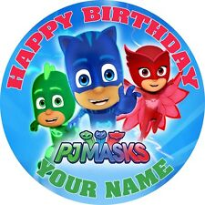 PJ MASKS PERSONALISED EDIBLE ICING IMAGE BIRTHDAY PARTY CAKE TOPPER ROUND