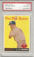 1958 Topps # 375 PEE WEE REESE, PSA 8 NM-MT, HOF, LOS ANGELES DODGERS,  L@@K !