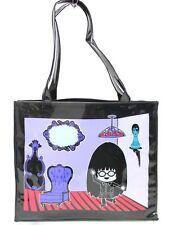 Anna Sui brevet noir et violet sac fourre-tout pvc shopping dames poignée épaule