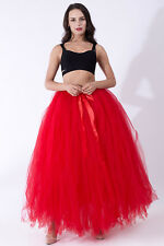 Women 3 Layers 100cm Long Tulle Skirt Adult Tutu Wedding Skirts Prom Ball Gown