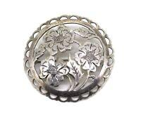 schöne florale Art Deco Brosche - 835er Silber