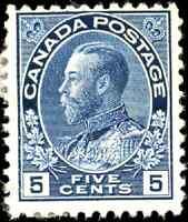 Canada #111 mint F OG HR 1914 King George V 5c dark blue Admiral CV$70.00