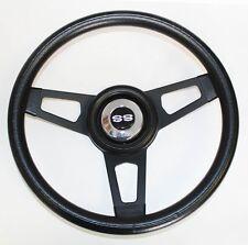 "64 65 Chevelle El Camino Grant Black Steering Wheel black spokes 13 3/4"" SS Cap"