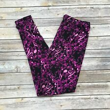 Purple Pink Music Notes Women's Leggings  PS Plus Size TC 12-20 Super Soft
