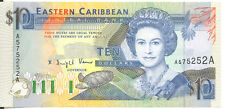 East Caribbean States $10 Ten Dollars Antiga P-27a AU++ Queen Elizabeth II 1993