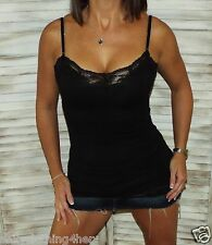 Sexy Slimming Low Cut Cleavage Lace Long Layering Club Tank Cami Top Black 2X