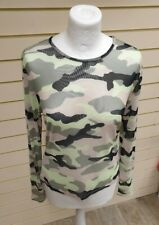 H&M Ladies sheer Long Sleeved Camouflage Top Size L  NWT