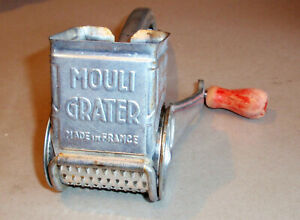 Vintage MOULI Rotary Hand Grater w/Metal Barrel & RED Wood Handle Made in France