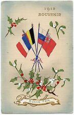 CARTE PEINTE à LA MAIN . DRAPEAUX DES ALLIéS SOUVENIR 1915.  FLAGS OF THE ALLIES