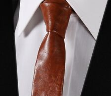 Men Brown Leather Tie Necktie Casual Classic Fashion Skinny Slim Solid#LET1