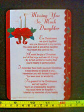 Missing You So Much Daughter Christmas Poem Plastic Gift Card New