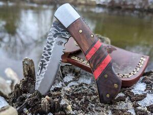 Rose Wood Red Turquoise Handle Folding Pocket Knife Hammered Belt Clip NR05-3