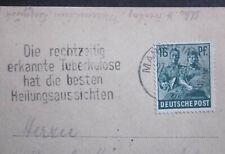 Medizin TBC Heilung durch frühe Diagnose Stempel auf Postkarte SBZ1947  2 Bilder