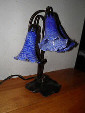 Tiffany Style Tulip Lamp Hi/Lo Switch 3 Blue Art Glass Shades Lilly Pad $20 OFF