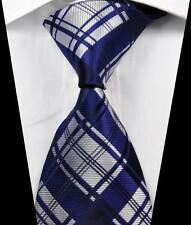New Classic Checks Dark Blue Silver JACQUARD WOVEN 100% Silk Men's Tie Necktie