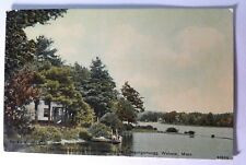 Webster Lake Massachusetts KO-KO-KO-HO CANOE Club Rare Postcard HAMMOCK Canoeing
