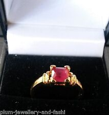 R121. 6mm cushion ruby ring, 14k yellow gold filled, Size O+, BOXED Plum UK