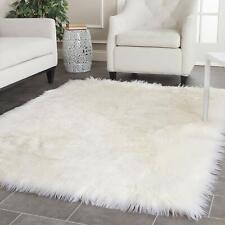 Shaggy Shag Plush Polar Bear Area Throw Rug Faux Fur Bear Skin White 5'x7'