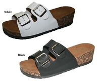 WOMENS FASHION OPEN TOE 2 BUCKLE SLIP ON CORK SANDALS 6 7 8 9 10 11 BLACK WHITE