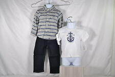 Baby Boy's Nautica 3 Piece Set: Button up, T-Shirt, & Jeans, Grey,
