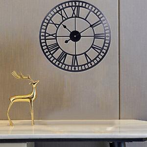 Wall Clock Metal Silent 40cm Livingroom Round Decorative Cafe Church Clocks