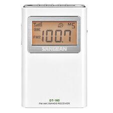 Sangean FM/AM Stereo Pocket Radio White Direct Recall 15 Station Presets DT-160